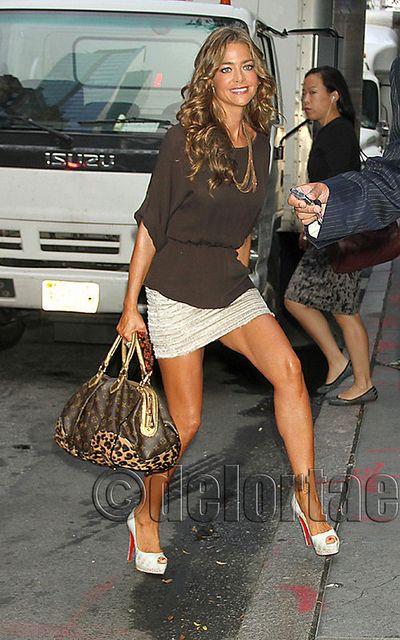 Denise Richards with Louis Vuitton Leopard Stephen Bag 7a269c9ad77c9