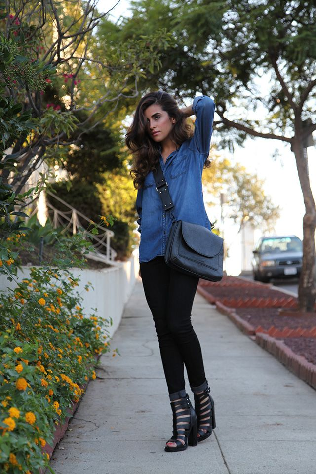 chambray and black denim #fall #outfit #streetstyle
