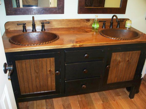Gallery One Double Bathroom Vanity with Copper Sinks u Faucets on legs LP inch