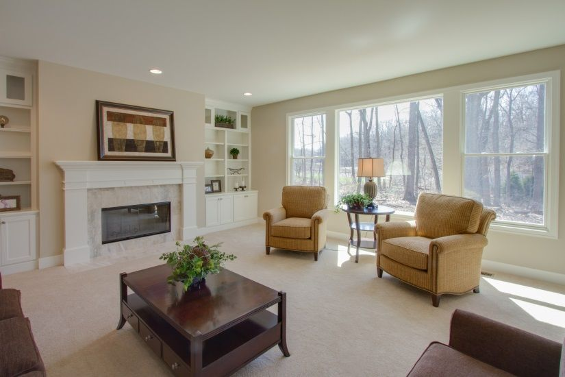 barrington shores painted mantle built ins and gas fireplace