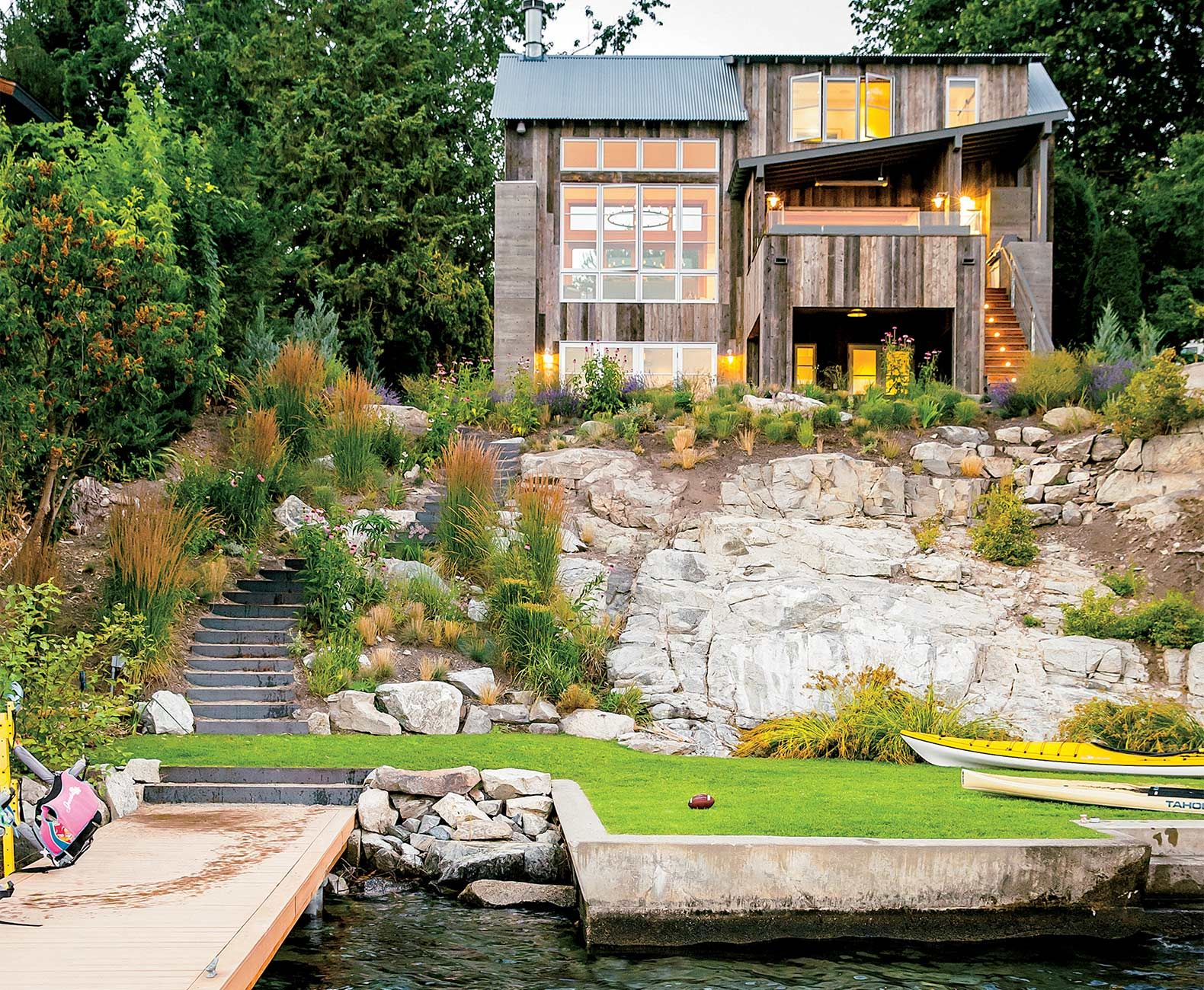 Lakeside cabin made out of reclaimed wood is as idyllic as it s