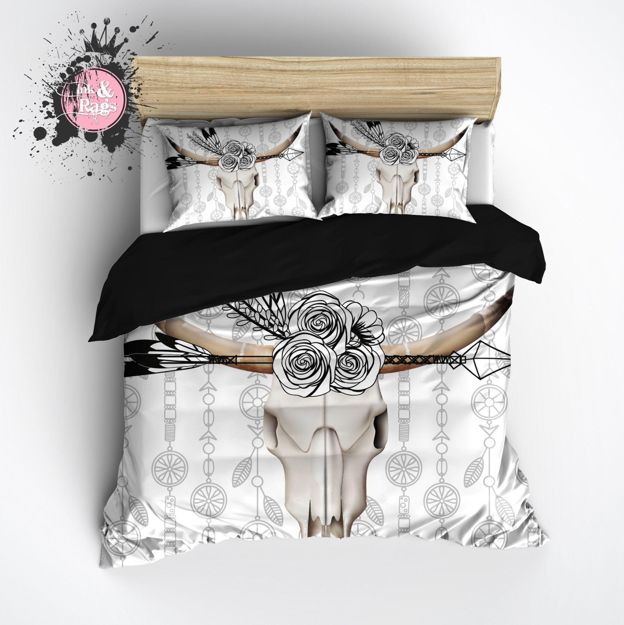 Skull Bedroom Accessories Bedding Southwest Dream Catcher Skull Floral Watercolor