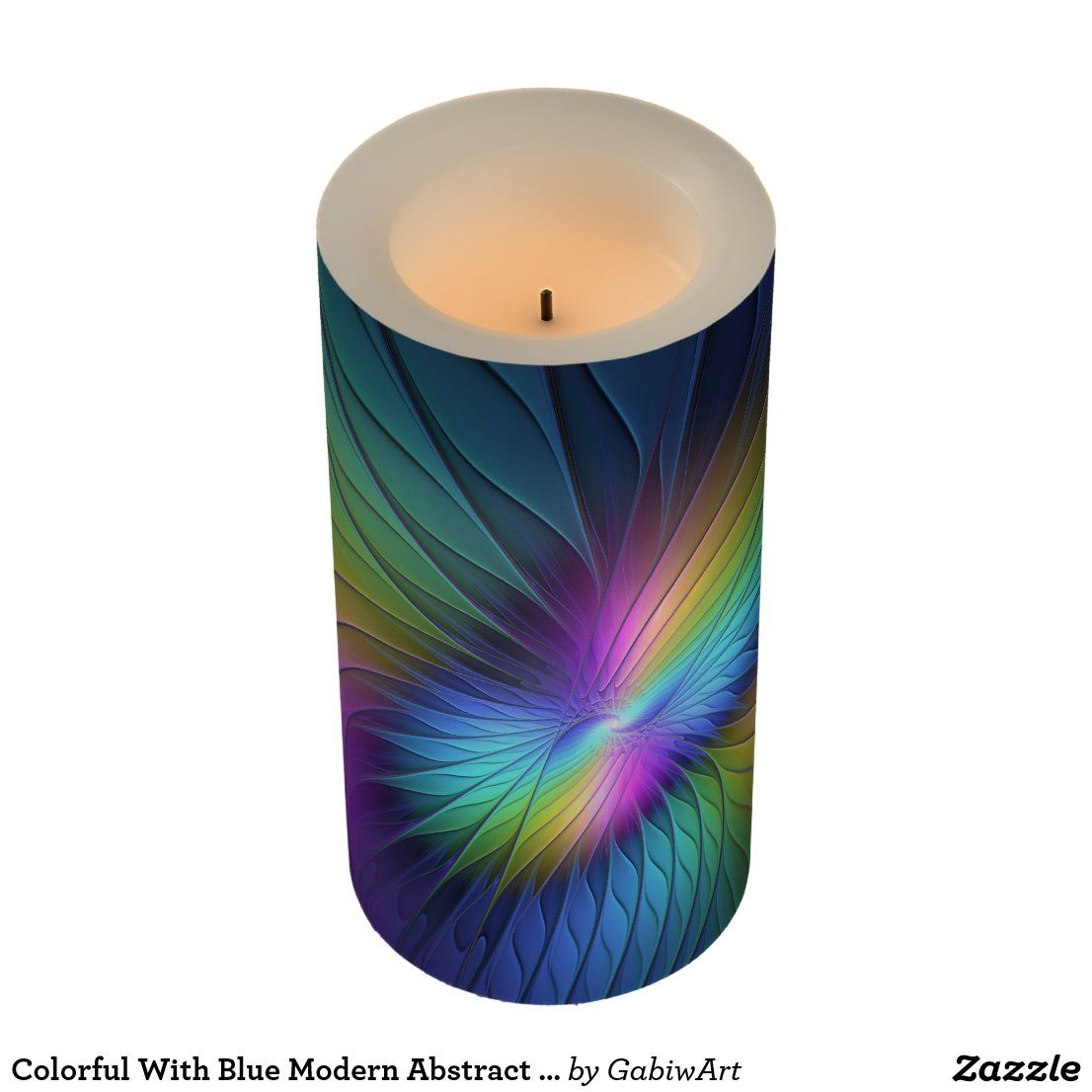 Colorful With Blue Modern Abstract Fractal Art Flameless Candle Zazzle Com