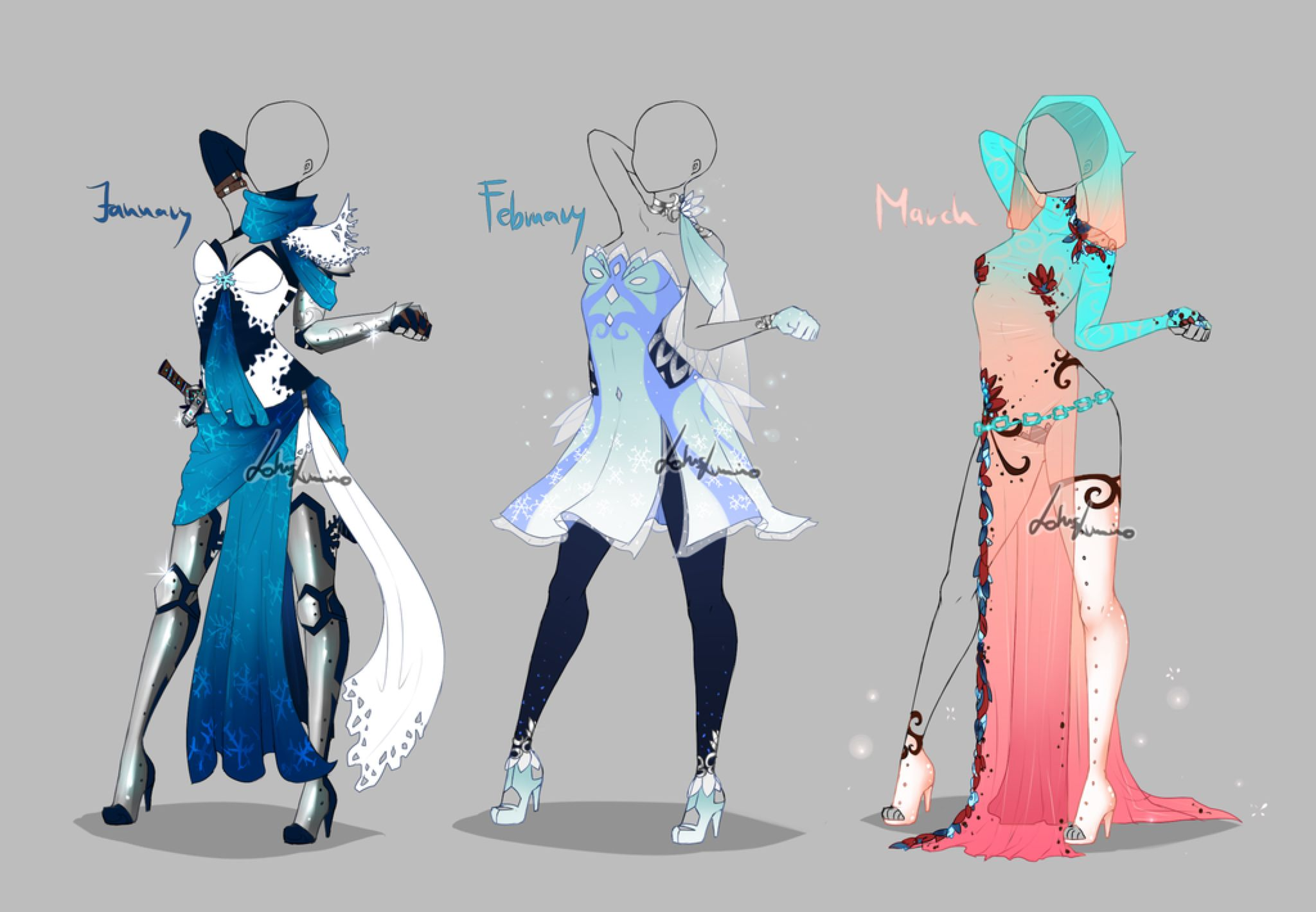 Outfit design Months 1 by LotusLumino on DeviantArt
