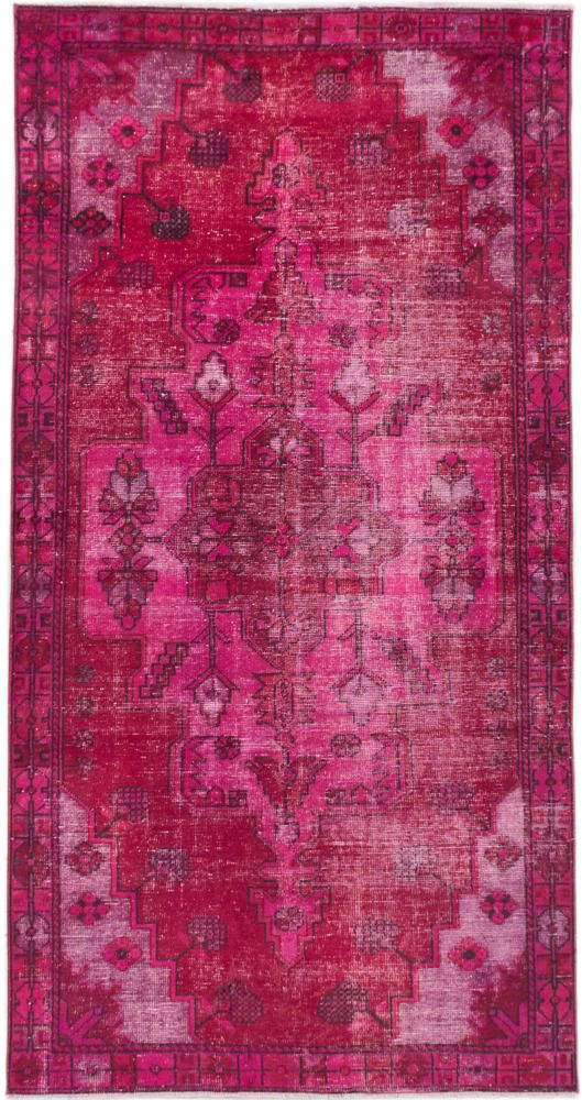 Hand Knotted Anatolian Overdyed Dark Pink Dark Red Wool