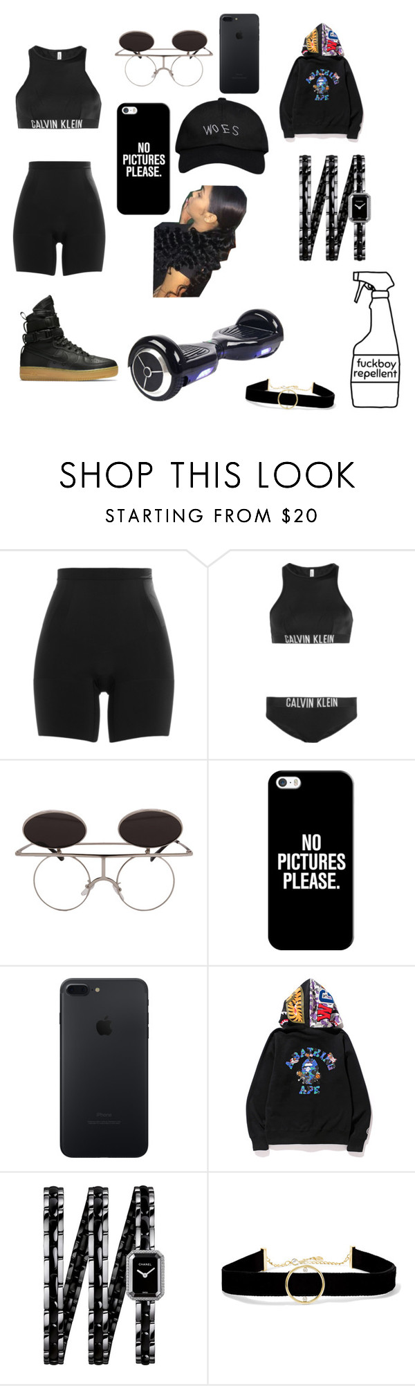 """Selfie Repellent 🤒"" by trendsetterkiki ❤ liked on Polyvore featuring SPANX, Calvin Klein, NIKE, Casetify, A BATHING APE, Chanel and Anissa Kermiche"