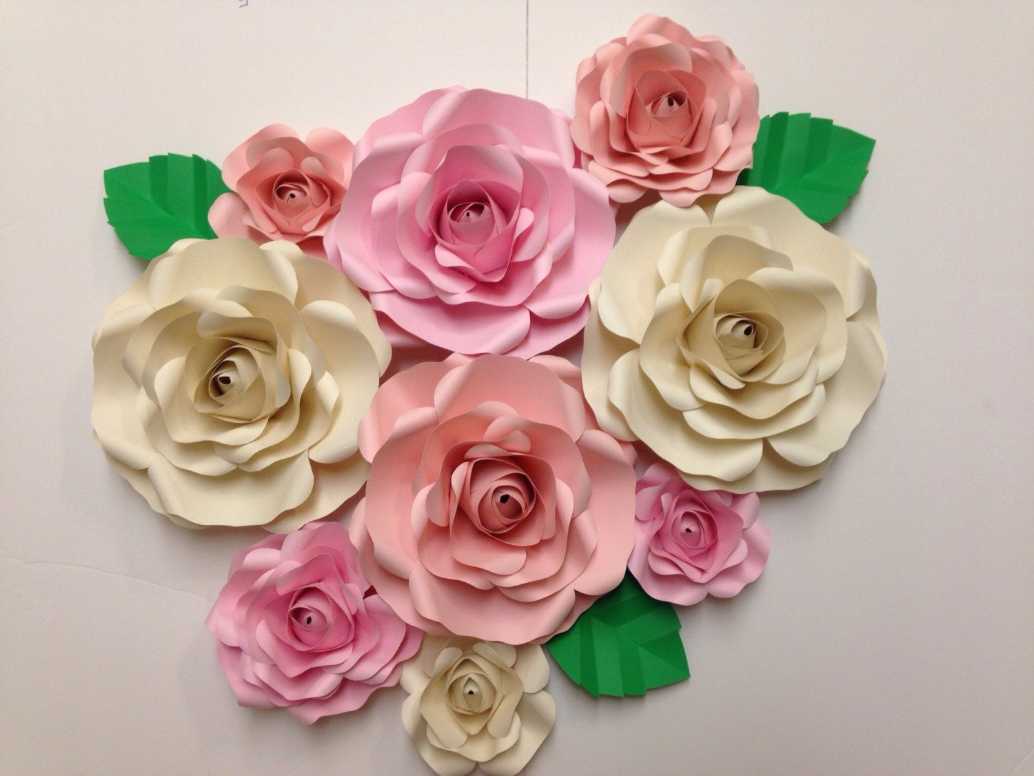9 Pc Paper Flower Backdrop Roses Shabby Chic Weddings Bridal Shower By Paperpetalsbyjasmine On Etsy Paper Flowers Paper Flower Backdrop Flower Backdrop