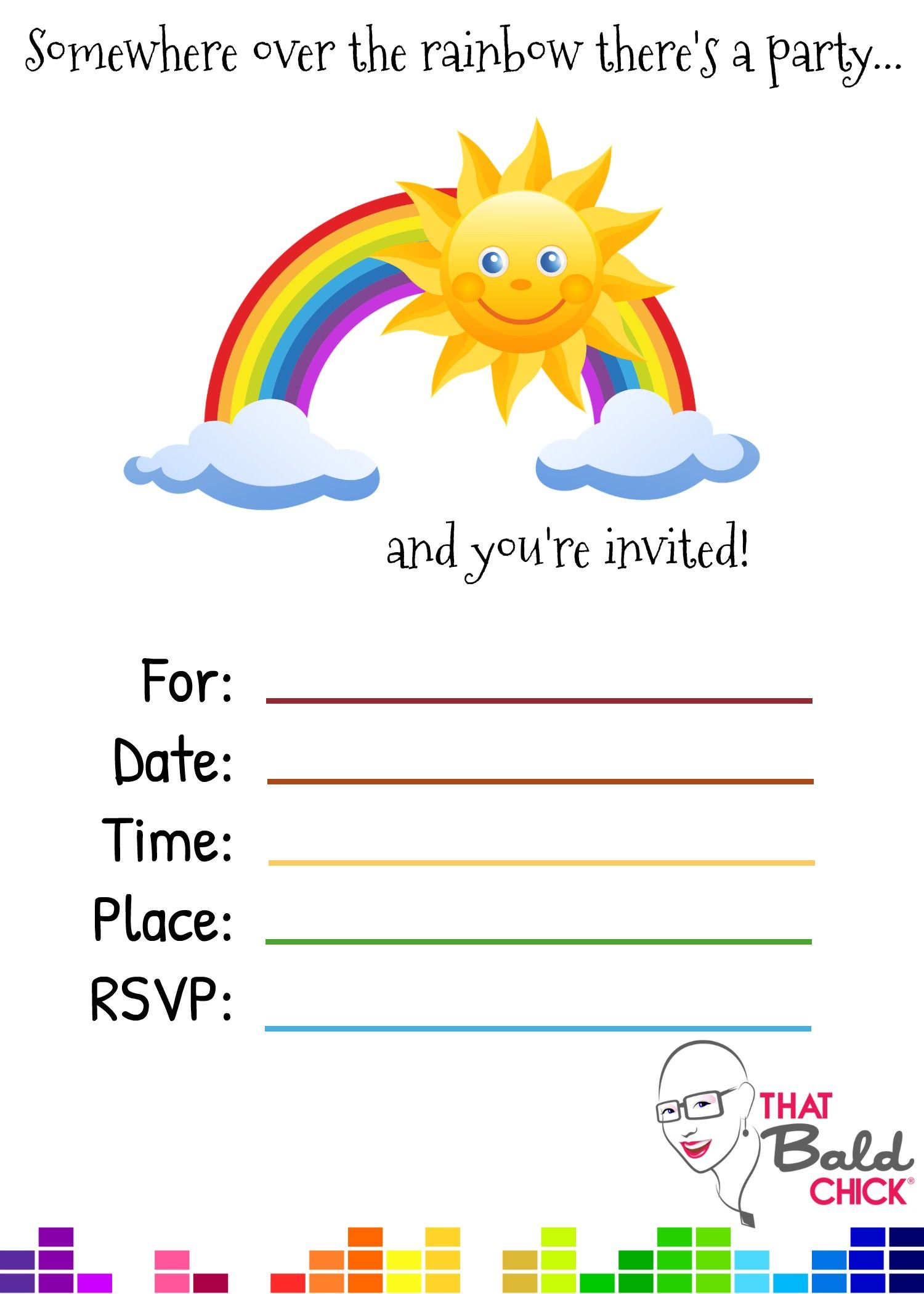Free printable 5x7 Rainbow Party Invite at thatbaldchick.com | Great ...