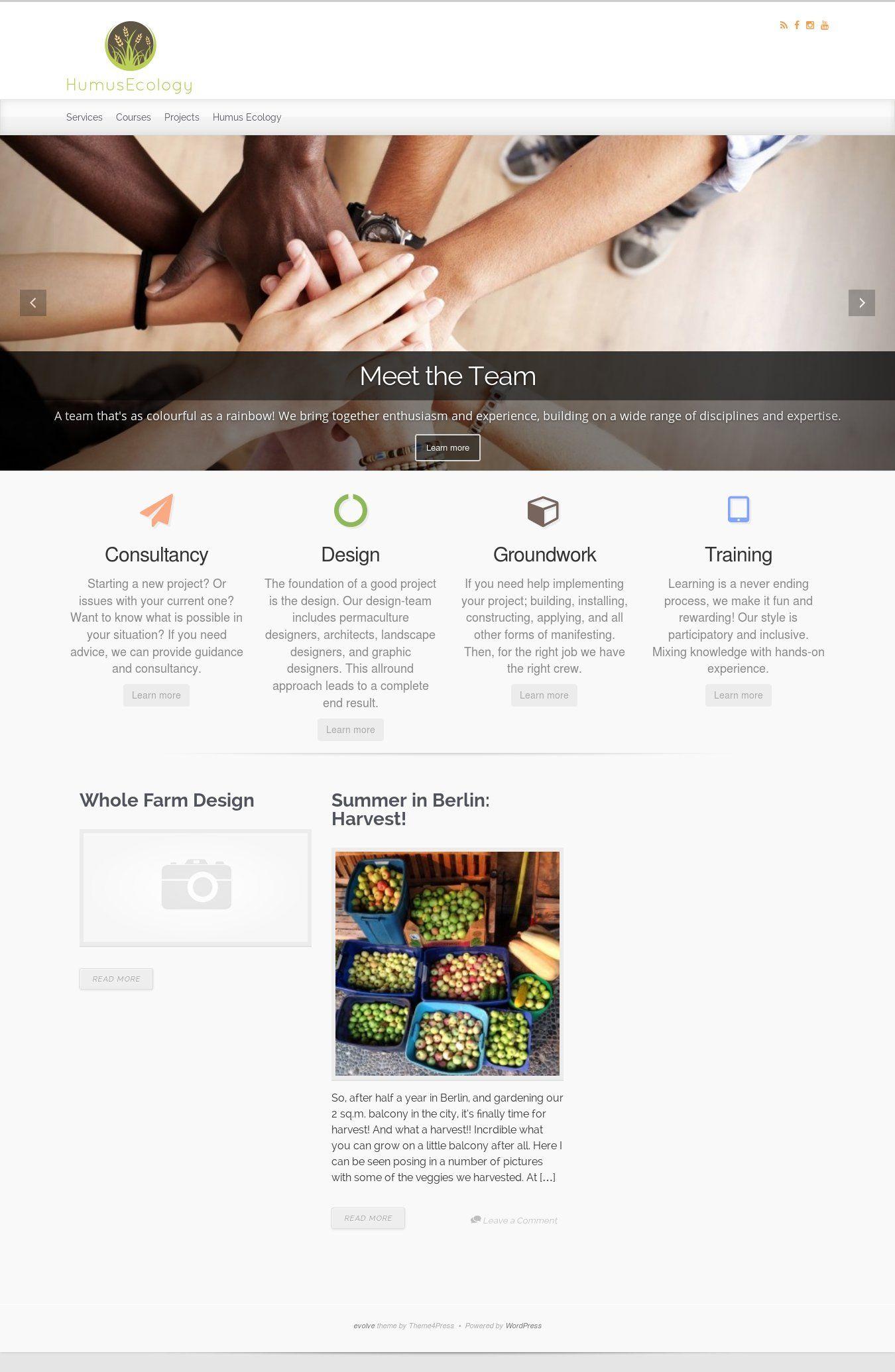 WordPress site humusecology uses the Evolve theme
