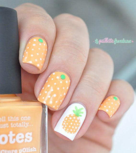 Nailstorming summer fruit - pineapple nail art - white and orange polka dot  nails - http - Nailstorming Summer Fruit - Pineapple Nail Art - White And Orange