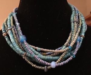 Chicos Many Shades of Teal Turquoise Multi Strand Beaded Statement Necklace | eBay