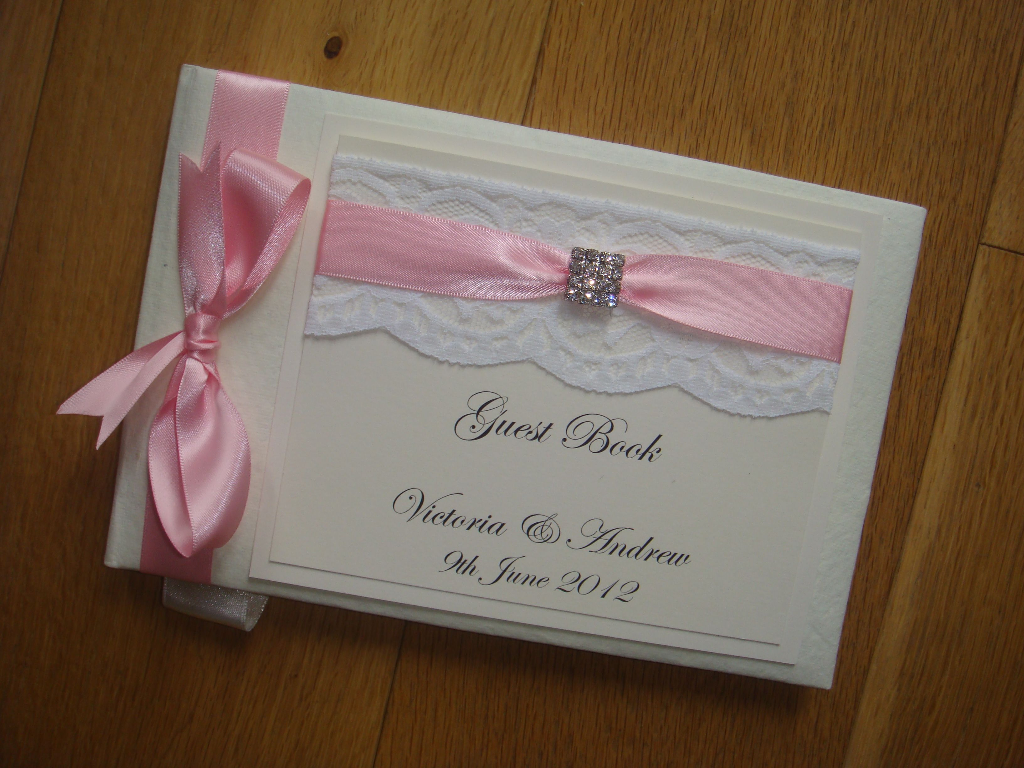 Wedding Guest Book With A Diamante Crystal Embellishment In Pink