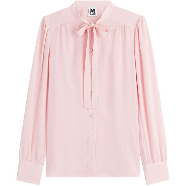 M Missoni Silk Tie Neck Blouse (€315) ❤ liked on Polyvore featuring tops, blouses, shirts, clothing - ls tops, pink, magenta, tie neck shirt, long sleeve silk blouse, pink long sleeve shirt and pale pink blouse