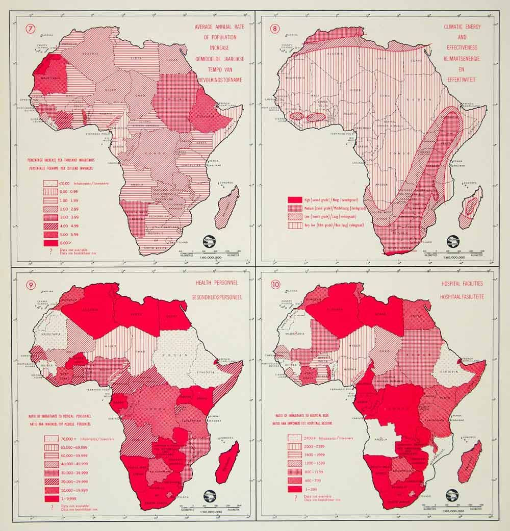 1962 Offset Lithograph Population Map Climate Health Hospital Rate Afr Map Africa Map Africa