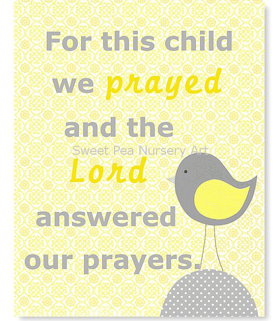 For This Child We Prayed, Bible Verse Nursery Art, Grey and Lemon ...