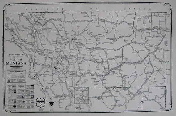 Rare MONTANA Map of Montana 1927 Vintage Montana Road Map Black and