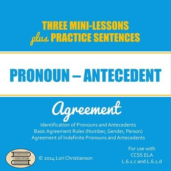 Pronoun-Antecedent Agreement PowerPoint with Three Minilessons