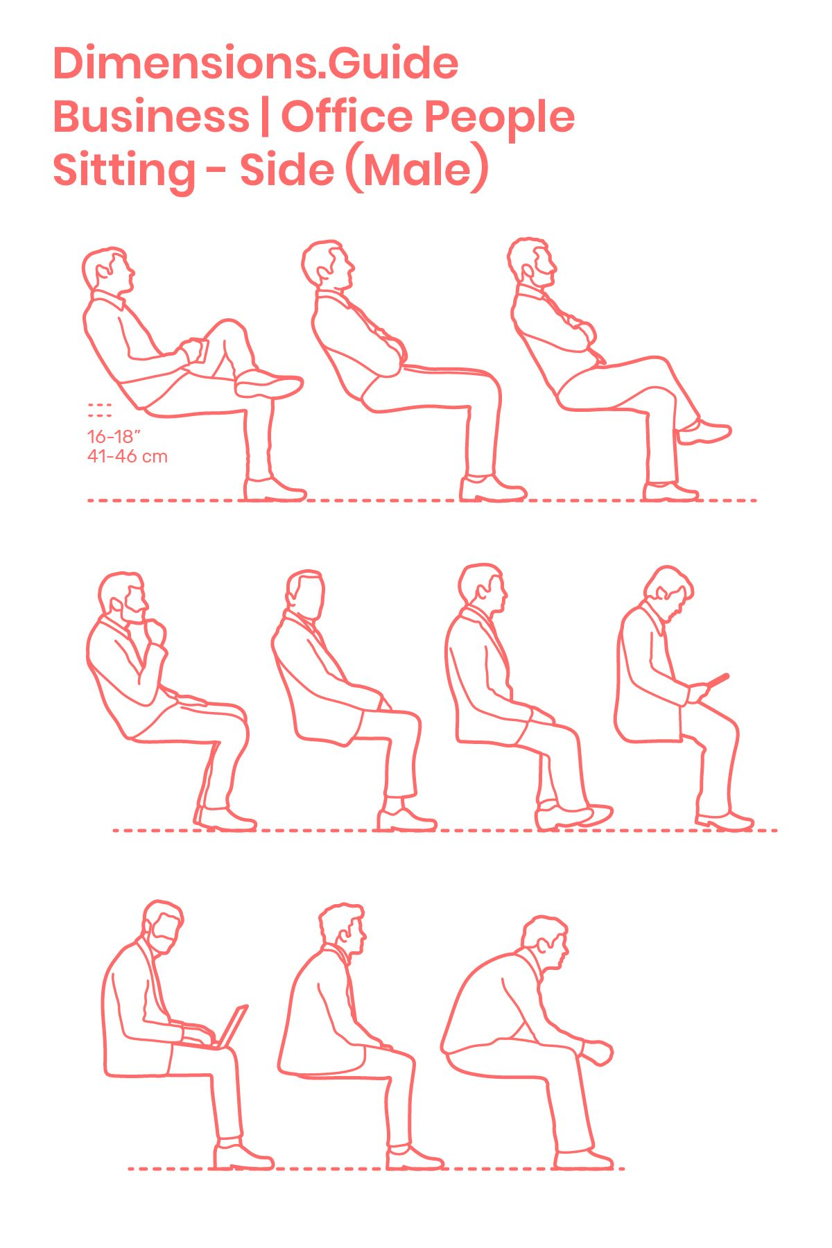 Assorted drawings of businessmen in various sitting postures