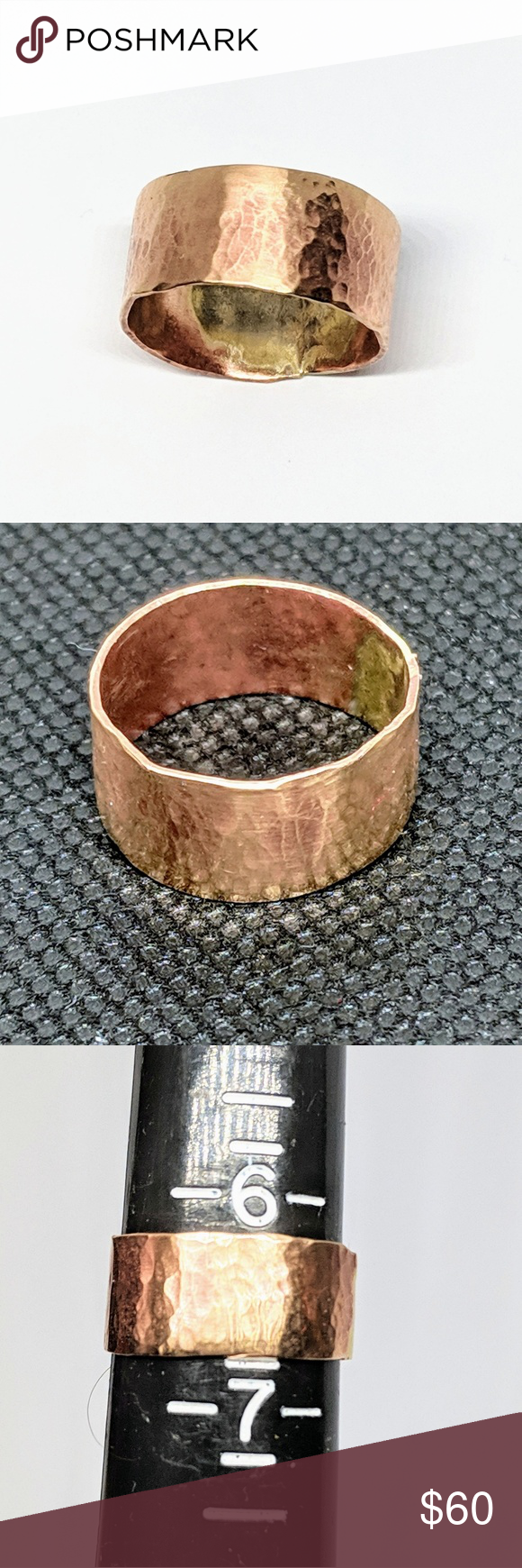 Ring Size 6.75 Handcrafted Hammered Bronze Band
