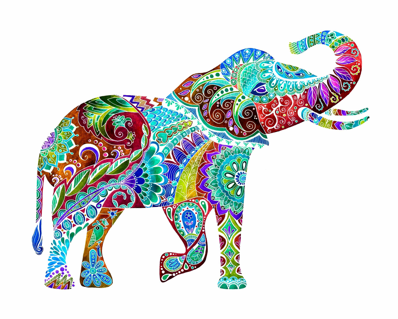 - Watercolor Elephant, Colorful Elephant Painting, Elephant Art