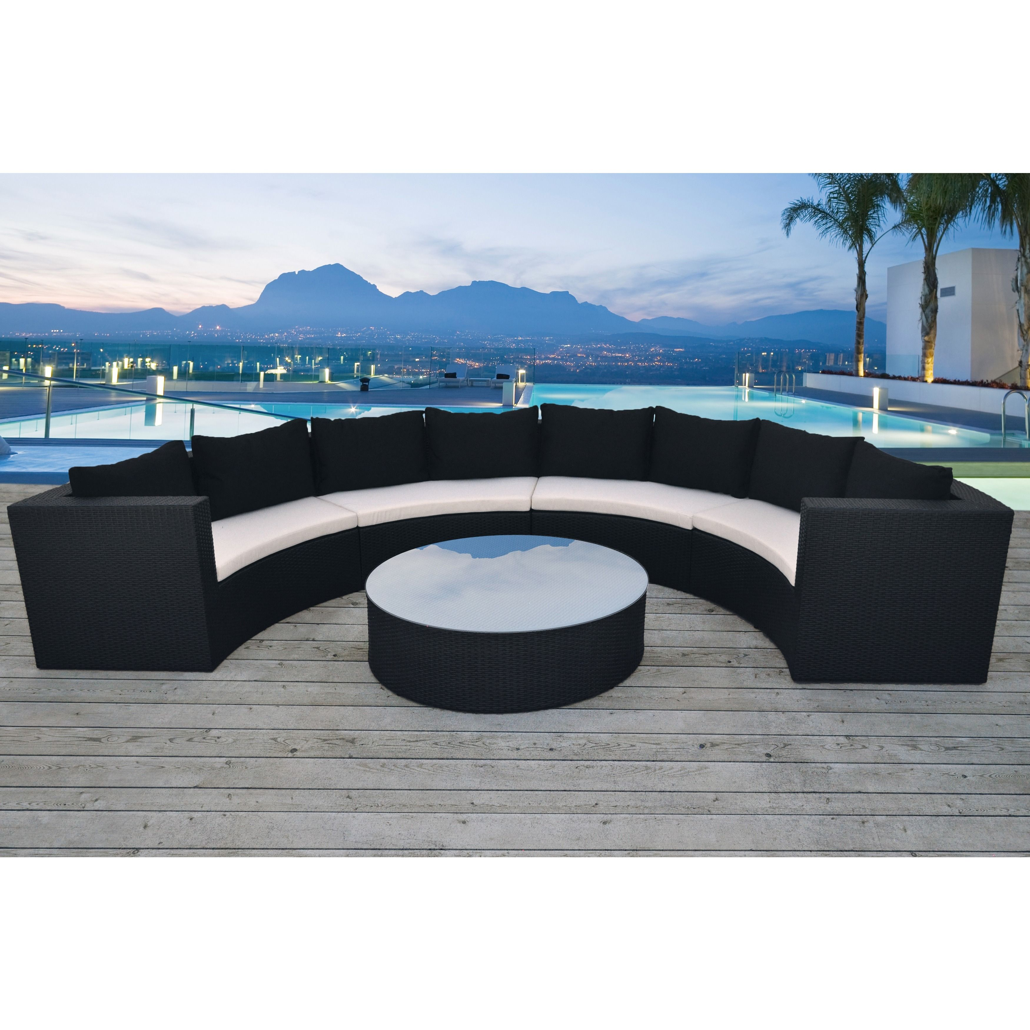 Solis Avalon Sectional Outdoor Deep Seated 5 piece Wicker Rattan