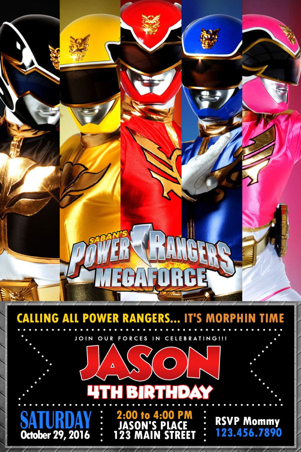 Power Ranger Power Ranger Invitation Power Ranger Card Power Ranger Birthday Greeting Car Power Ranger Birthday Power Rangers Invitations Power Ranger Party