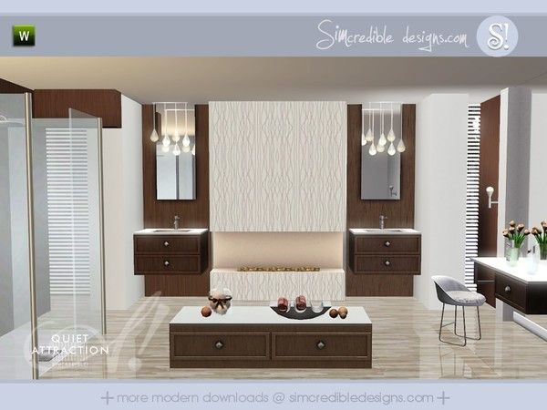 Quiet Attraction modern bathroom by SIMcredible! - Sims 3 Downloads ...