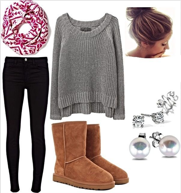 Cute Outfit For Those Cooler Comfy Cozy Fall Days Going To Class The Over Sized Gray Sweater With The Pop Of Color In The Scarf Are A Great Touch