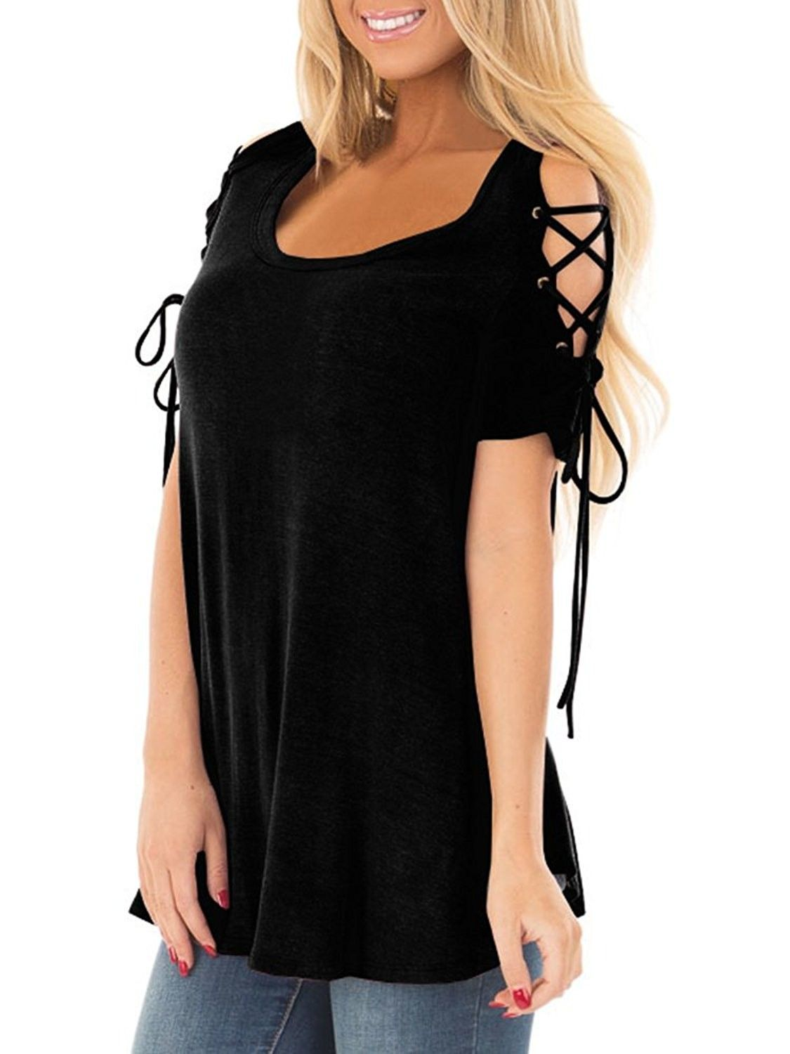 Summer Women/'s Lace Shoulder T-Shirt Short Sleeve Loose Tops Casual Blouse