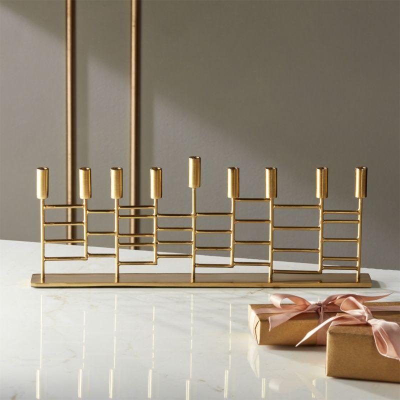 Shop Brass Menorah Sleek And Sophisticated Like Modern Art Sculpture Graphic