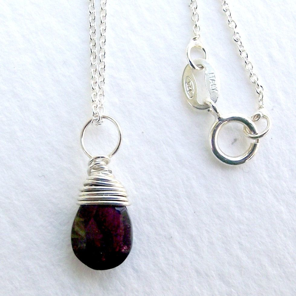 Wire wrapped gem necklace. Little garnet on sterling silver chain