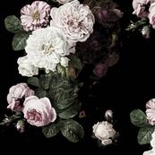 Vintage Roses Jumbo Scale Dark Moody Flo In 2020 Vintage Roses Floral Wallpaper Dark Floral