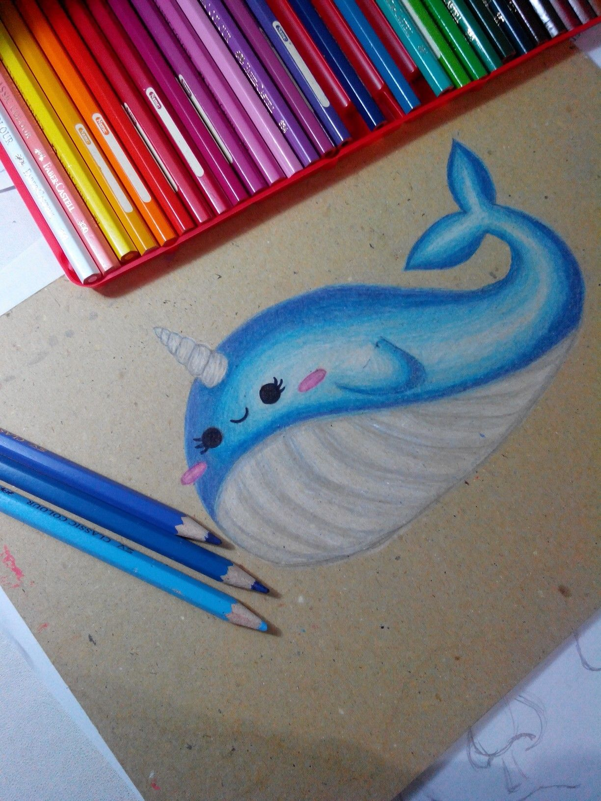 Baby narwhal drawing done by me♥ My drawings