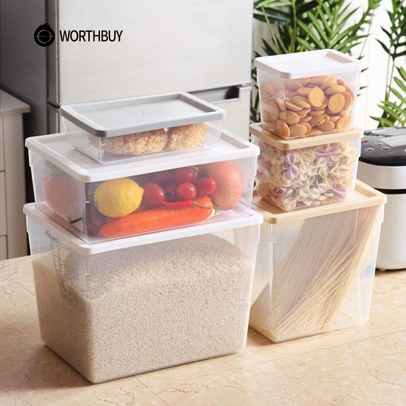 Worthbuy Bpa Free Plastic Storage Container Kitchen Refrigerator Organizer Airtight Micr In 2020 Food Storage Boxes Plastic Container Storage Refrigerator Organization