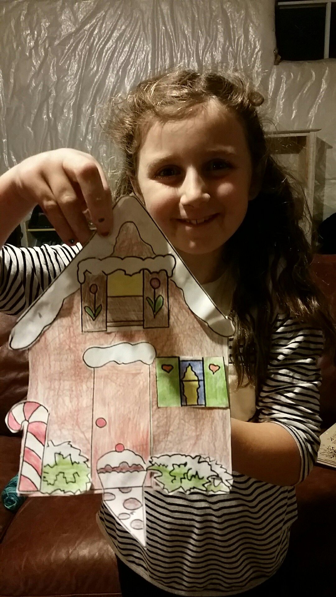 Kids Winter Craft Paper Gingerbread House Made With A