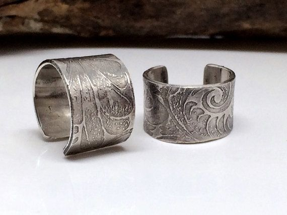 sterling silver cuff earring with an embossed tooled leather design. A great…