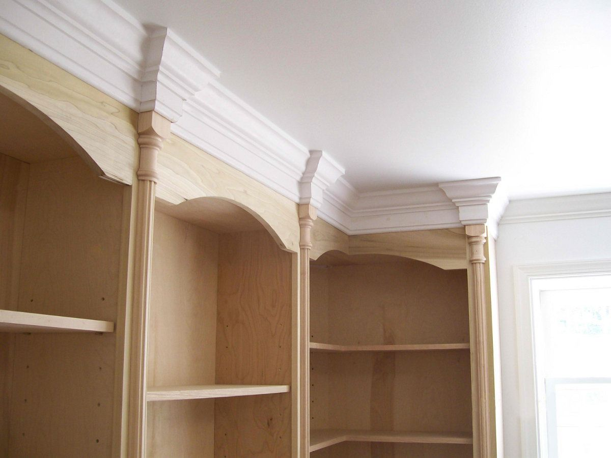 Bookcases With Columns And Crown Moulding Advanced