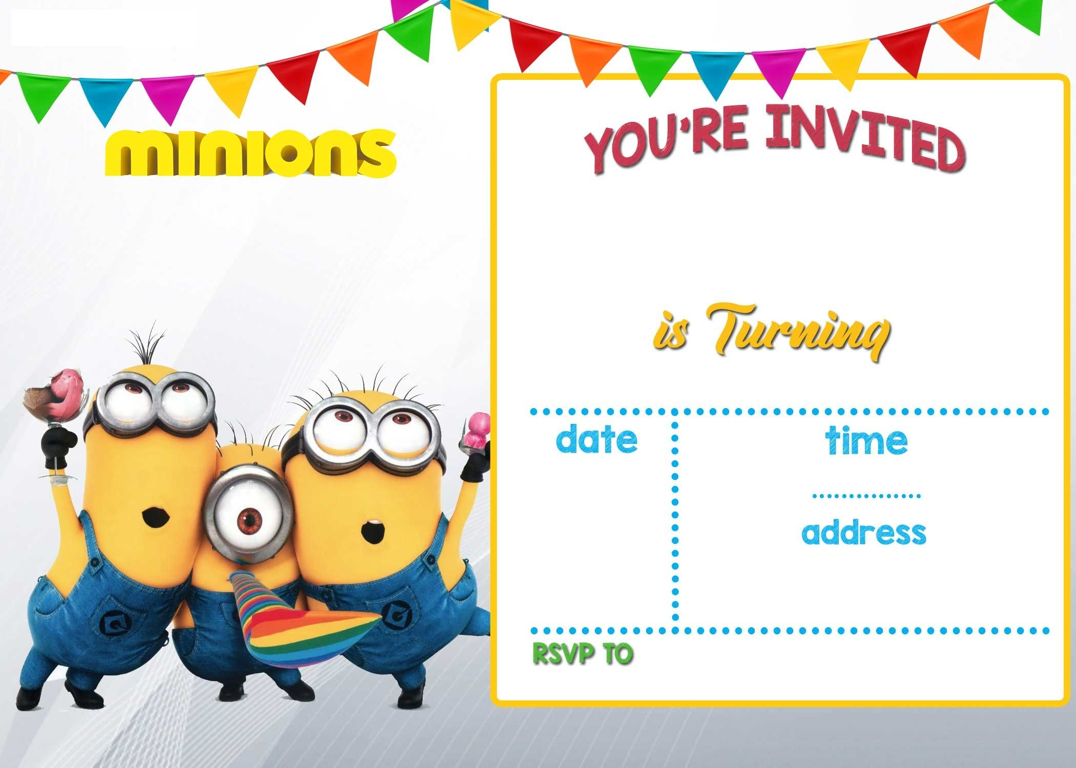 Cartoon Invitation Ppt Template Minion Birthday
