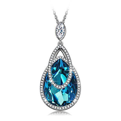 J NINA Butterfly Love Bermuda Blue Heart Design Women Pendant Necklace with Crystals from Swarovski, Nickel-Free, 45+5cm extender