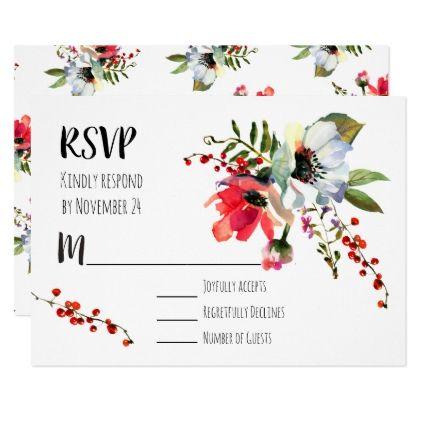 watercolor floral winter berries rsvp card wedding invitations