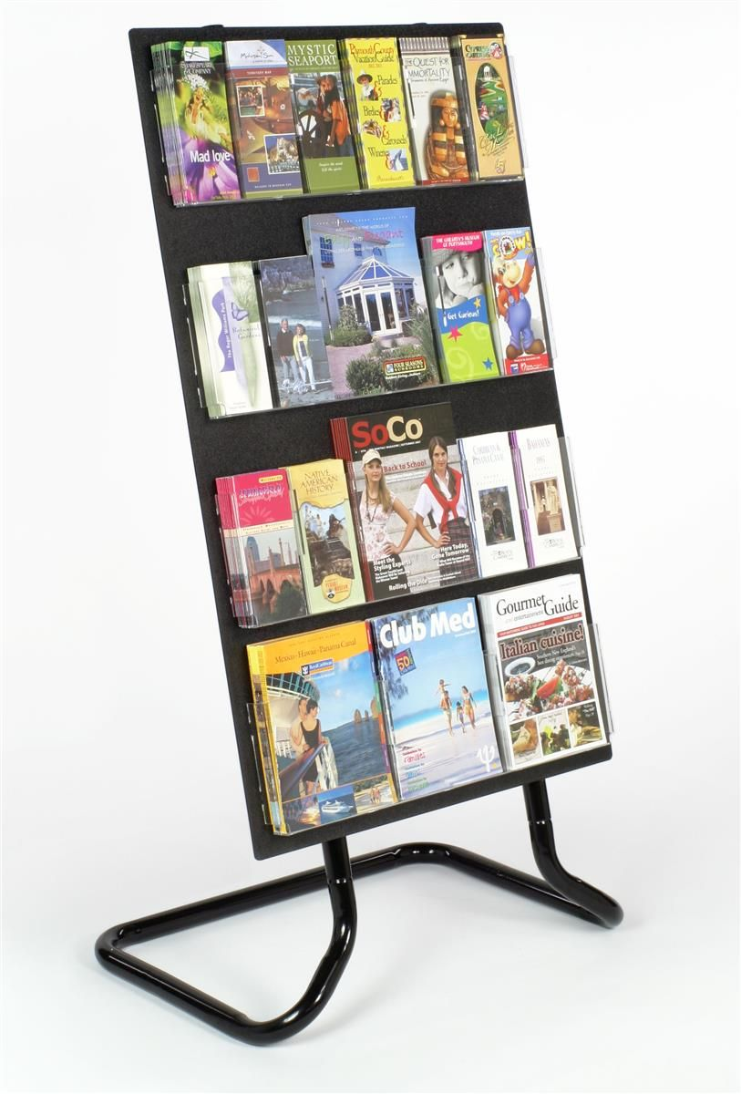 4 Tiered Acrylic Literature Stand 24 Adjustable Pockets Optional Dividers Black