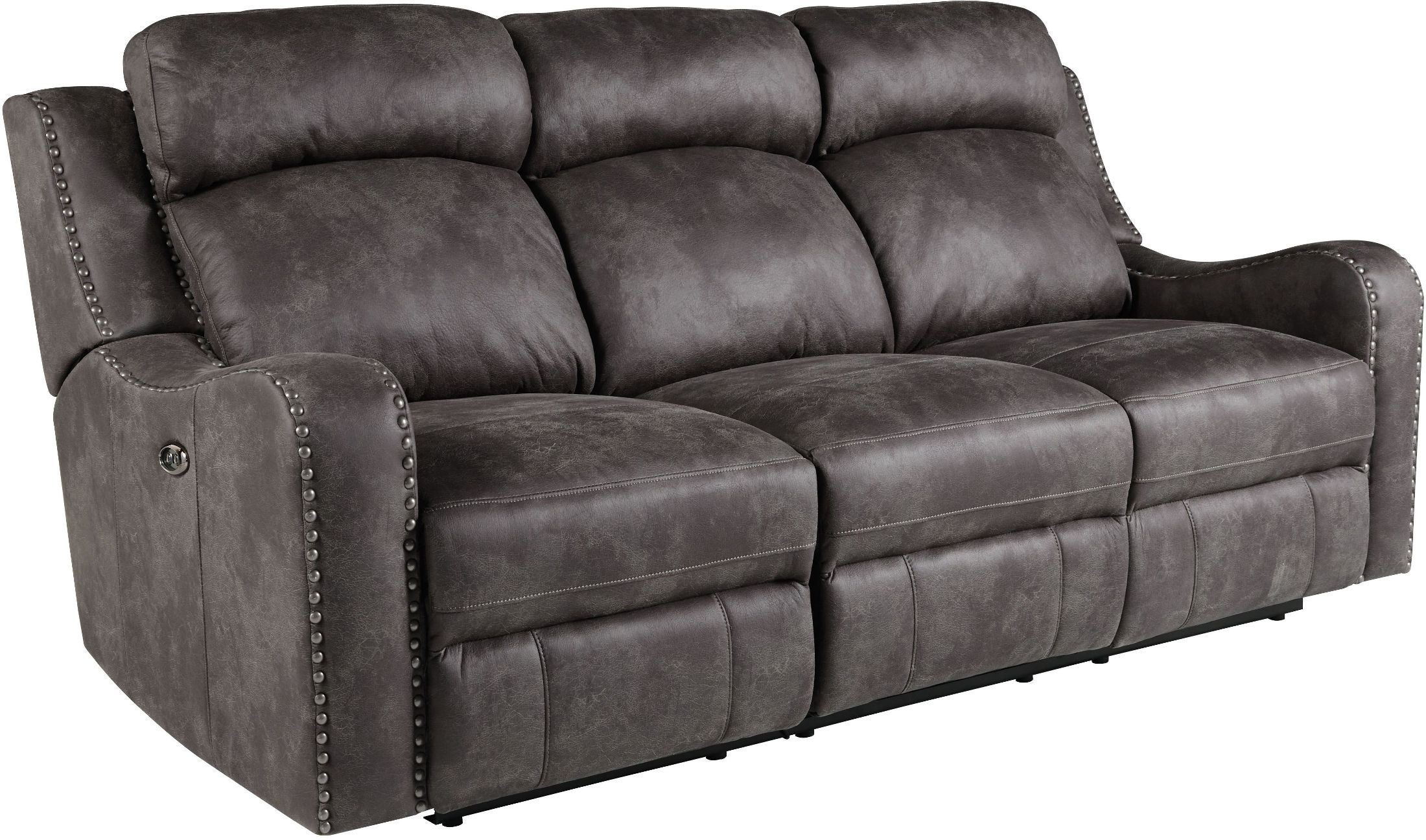 Bankston Gray Reclining Sofa Leather Reclining Sofa Standard