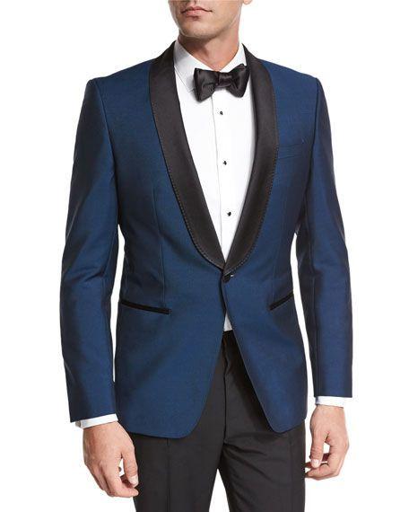 Boss Hugo Boss Satin Collar Tuxedo Jacket Blue Black Hochzeit Brautigam Anzuge Boss Damen Hugo Boss Anzug