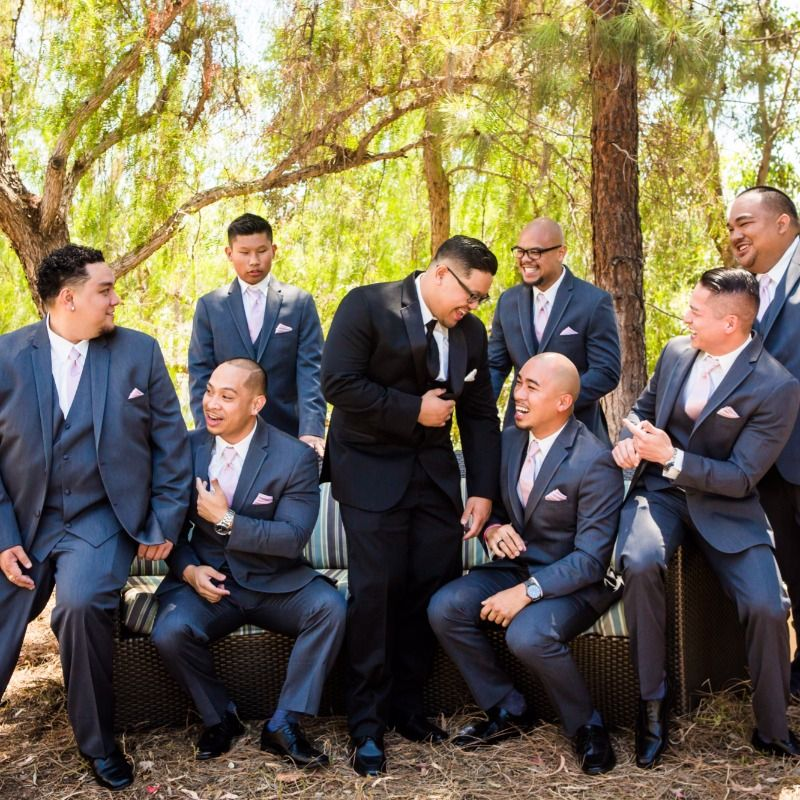 bc1cb2dddc8b Have the groom subtly stand out in a black tuxedo with the groomsmen in  grey.