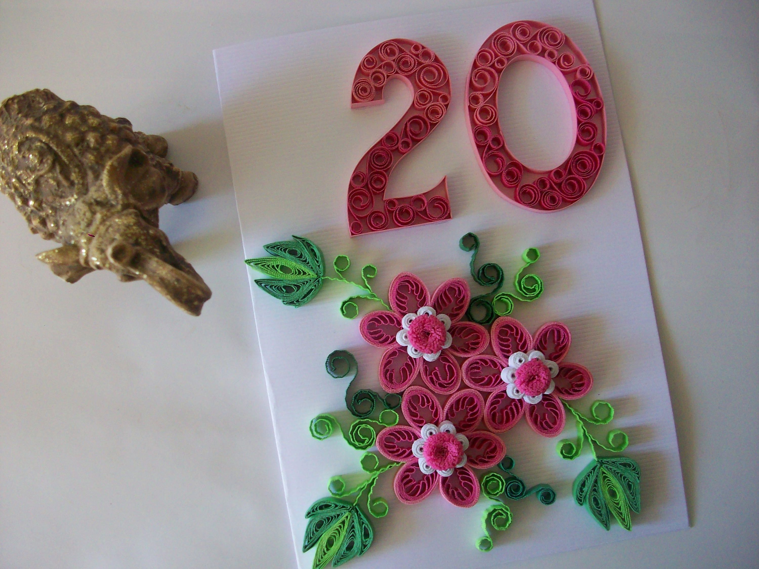 Birthday 20 Anniversary Quilling Card Greeting Card Quilled