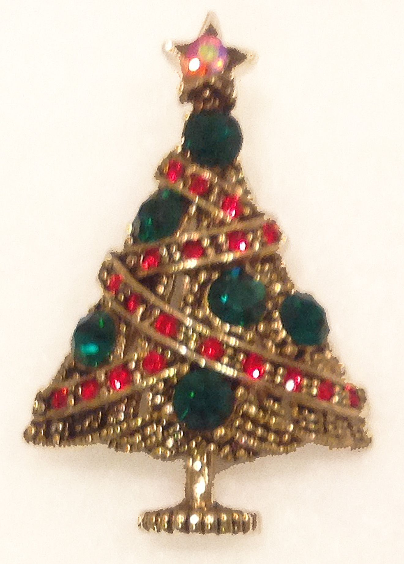 Contemporary Christmas Tree Pin Styled after Hollycraft Antique