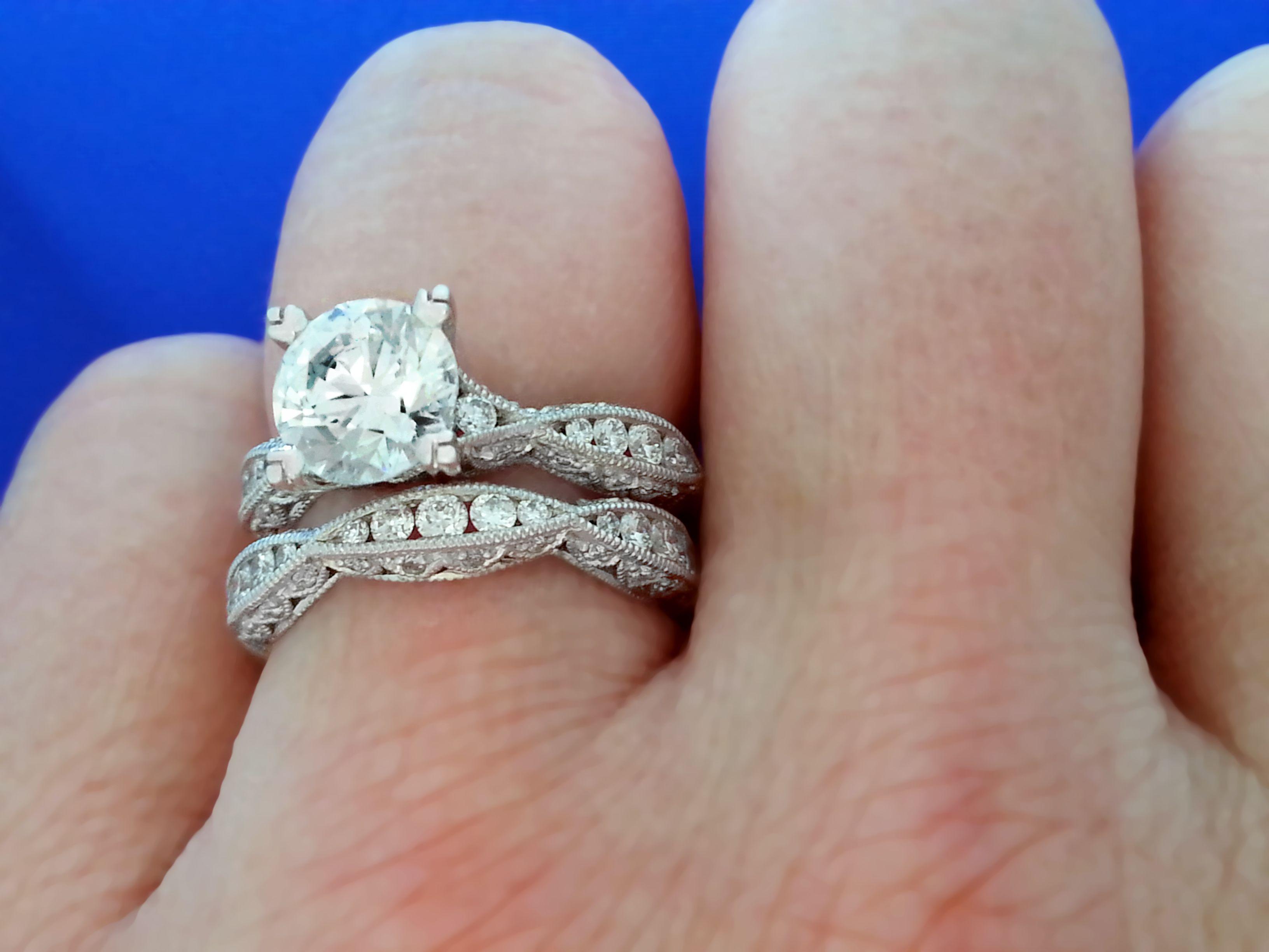 Amazing detail on this platinum tacori engagement ring and