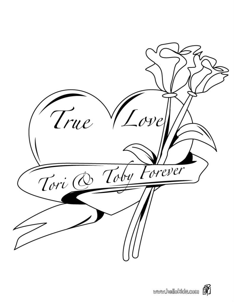 Hearts and roses coloring pages pink roses diamond hearts myspace