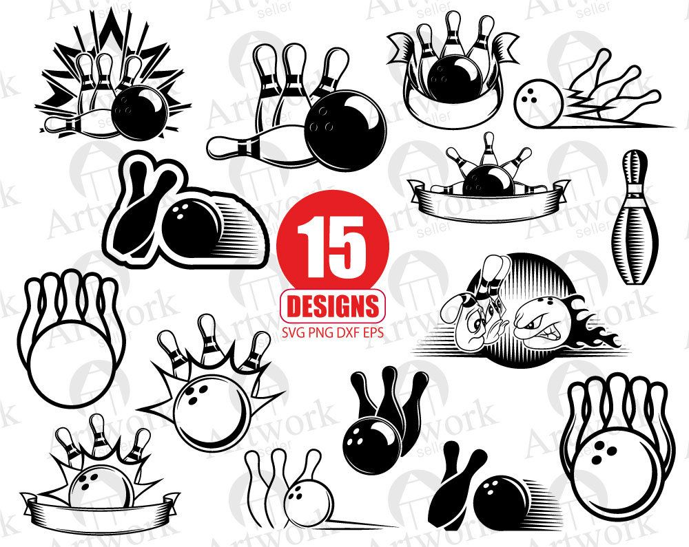 BOWLING SVG bowling pin svg bowler svg clipart decal stencil