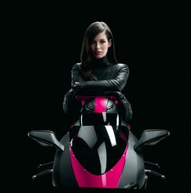 No More Mr. Nice Girl for T-Mobile and spokesgirl, Carly.  She's ditched the dress for leathers and a Ducati 848Evo